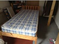Single bed pine frame with as new mattress