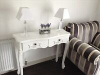 White matching side / lamp tables / console tables