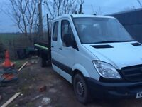 2008 Mercedes sprinter tipper crew cab with 3.5 ton under body tipping ram MOT till July