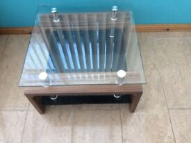 Matching glass top console and coffee table