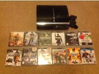 PS3 console 80GB with 12 games, one controller and all cables