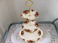 Royal Albert Old Country Roses 3 Tier Cake Stand.