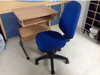 Blue computer chair with white Ikea table £20