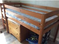 Pine mid sleeper, very good condition, with mattress, smoke free home.