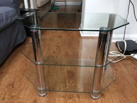 Three tier glass and chrome TV/Video stand