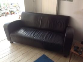 3 Piece Suite. Dark brown faux leather. Good condition.