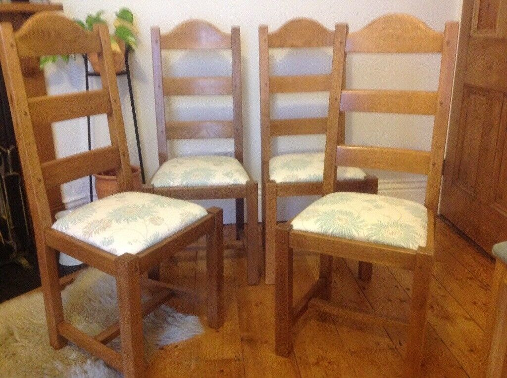 4 SOLID FRENCH OAK DINING CHAIRS WITH LAURA ASHLEY KIMONO FABRIC SEAT COVERS