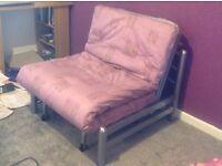 Single metal futon sofa bed with mattress