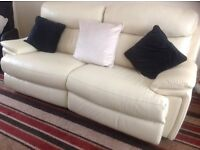 Cream Leather Sofa with Electric Recliners