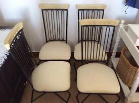 Set of 6 Dining Chairs black metal backs and cream fabric seats - very good condition