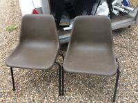 Brown plastic interlocking stacking chairs. Pre owned reasonable condition event chairs.