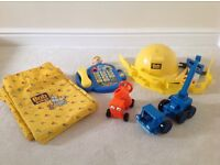 Bob the Builder toys and curtains