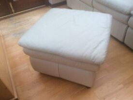 Cream Leather 3 Seater, 2 Seater and Storage Footstool