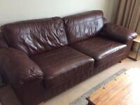 LARGE LEATHER SETTEE AND CHAIR
