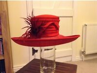 Ladies luxurious deep red formal hat