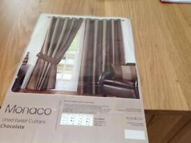 Chocolate striped curtains - eyelet