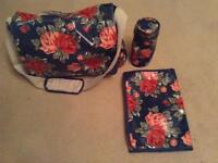 Genuine Cath Kidston Changing bag with bottle holder and changing mat