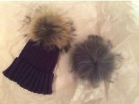 Luxury wool Bobble Hat: brand new unused lovely very soft high quality with choice of 2 pom poms