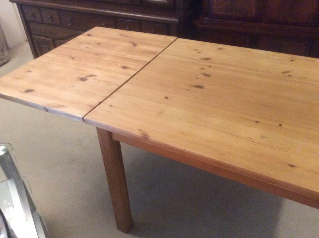 Large Vintage Solid Pine Farmhouse Table Drop Leaf