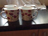 Large Poppy Mugs x4
