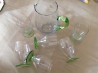Vintage glassware - two jugs and six glasses