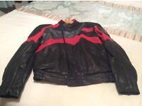 Frank Thomas Black/Red Leather Motorcycle Jacket