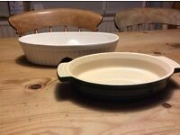 Two oval dishes