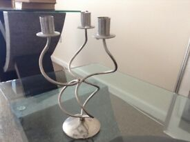 Silver Coloured Candelabra for Three Candles