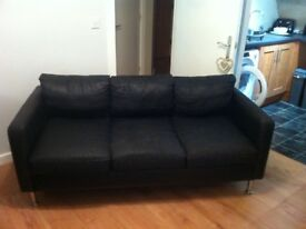 Faux leather sofa very worn but very comfortable