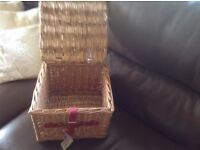 Wicker basket with lid and leather style fastening from John Lewis New
