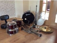 Full Adult Premier Drum Kit with Cymbals, Throne, Sticks - Very Good Condition. Must be Seen.