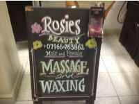 Massage, intimate waxing open bank holidays