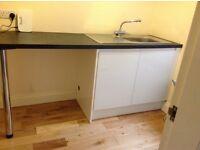 Kitchen Cupboard - worktop with sink and hygena cupboard doors/side panel
