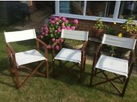 3 Director Chairs (cream canvas/dark wood frame)