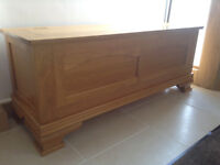 John Lewis - Quality Solid Oak Wooden Storage Chest - Ottoman - Blanket or Shoe Box