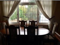Lancaster extendable Dining Table. Old Charm light oak. 6 chairs. Ardeley green cover.