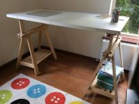 Large IKEA artist's or architect's desk with rectagonal window