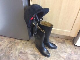 Horse riding ( Toggi) boots - size 4 Riding Hat and Crop.