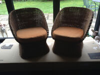 Vintage Basket Chairs with Cushions...