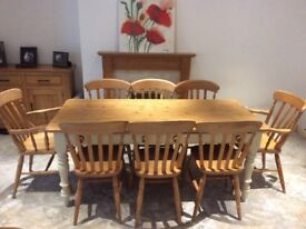 Stunning shabby chic solid pine and cream farmhouse table with 8 chairs