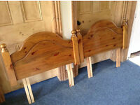 2 x sturdy single bed pine head boards