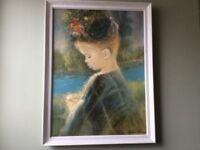 Lovely vintage/retro portrait/picture painting 'Precious'