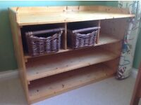 Bespoke pine changing table with two storage baskets
