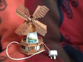 Novel vintage windmill shaped lamp, could be a nightlight for a child