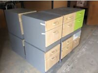 Nine x 2 Drawer Wood Cabinets