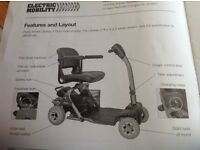 Mobility scooter- 4 wheeled, easily dismantled for transporting