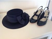 Elegant HAT AND SHOES size 5 wide fitting, NAVY - MOTHER OF THE BRIDE