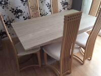 Marble Dining Table & 6 High Back Chairs