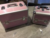 Two pink make up box's (VGC)