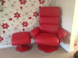 Recliner chair and footstool x 2
